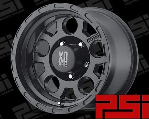 18X9 KMC ENDURO WHEELS X4 RIMS ALLOYS 4X4 SATIN BLACK