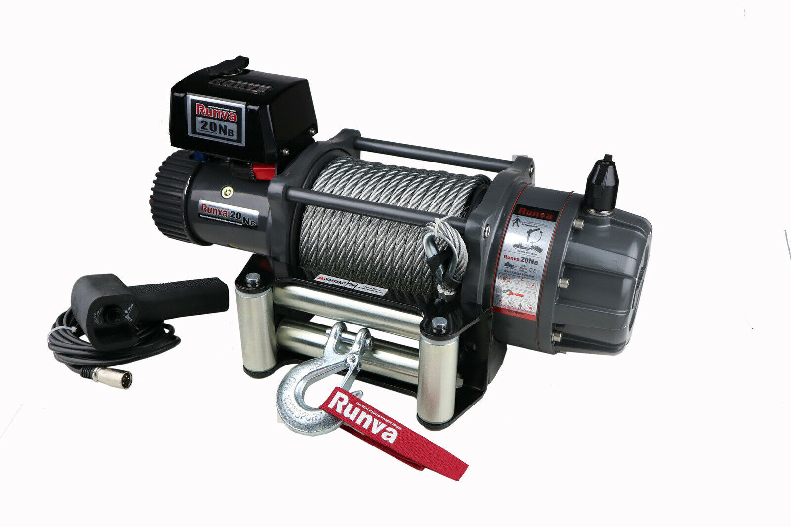 Runva winch EWB20000 PREMIUM 12V with Steel Cable - full IP67 protection